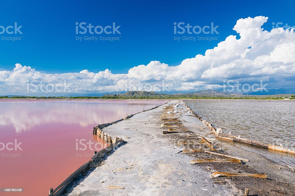 Gateway between the lakes in The salt production stock photo