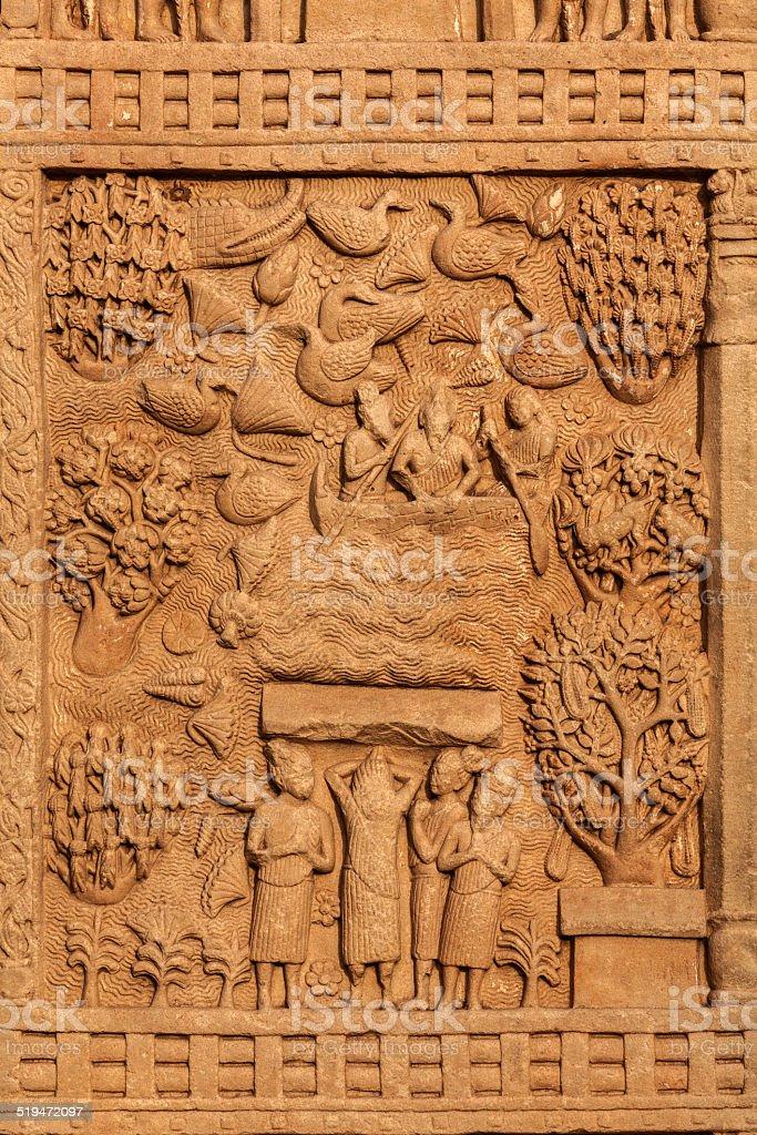 Gateway decoration Great Stupa. Sanchi, India stock photo