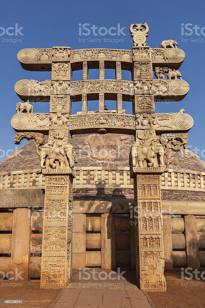 Gateway decoration Great Stupa. Sanchi, Madhya Pradesh, India stock photo