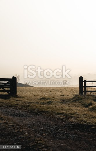 Open gate to a field in the British countryside, shot during golden hour on a cold, misty morning.