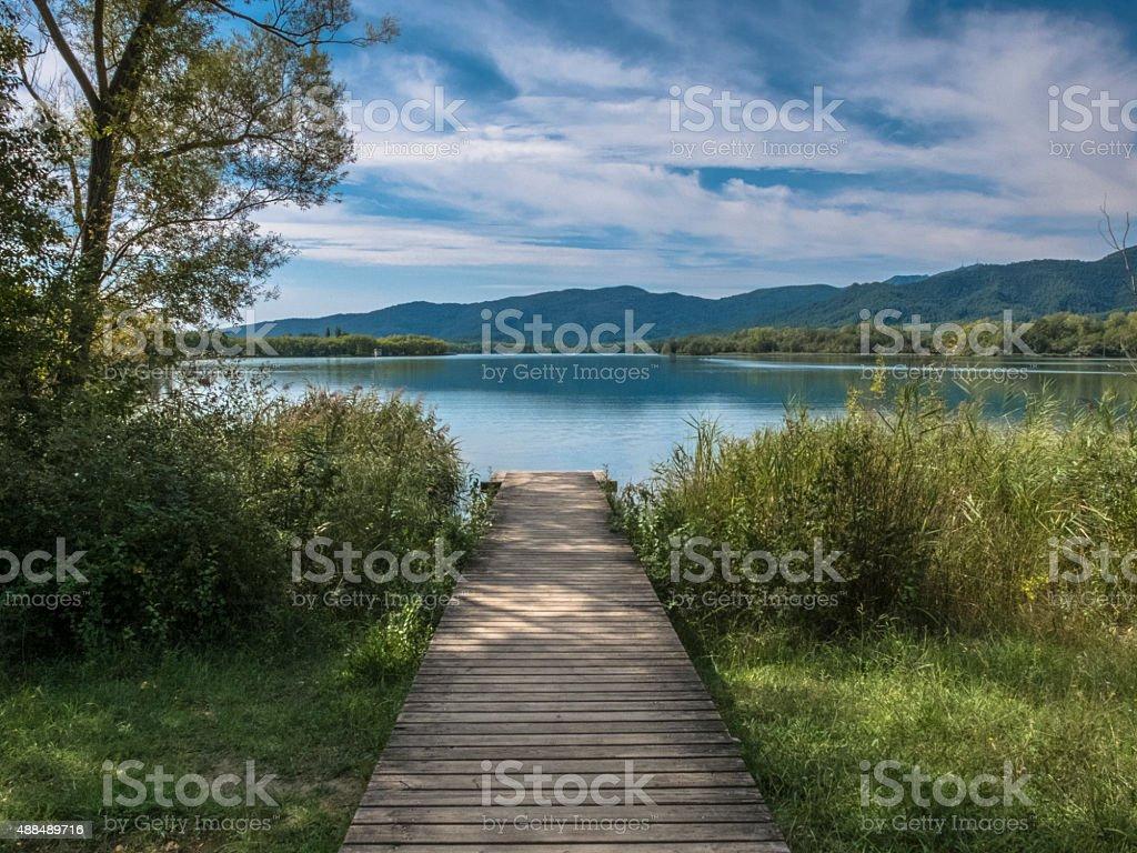 Gateway for fishermen on  Banyoles Lake stock photo