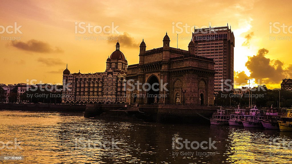 Gateway of India with Taj & Oberoi Hotel stock photo
