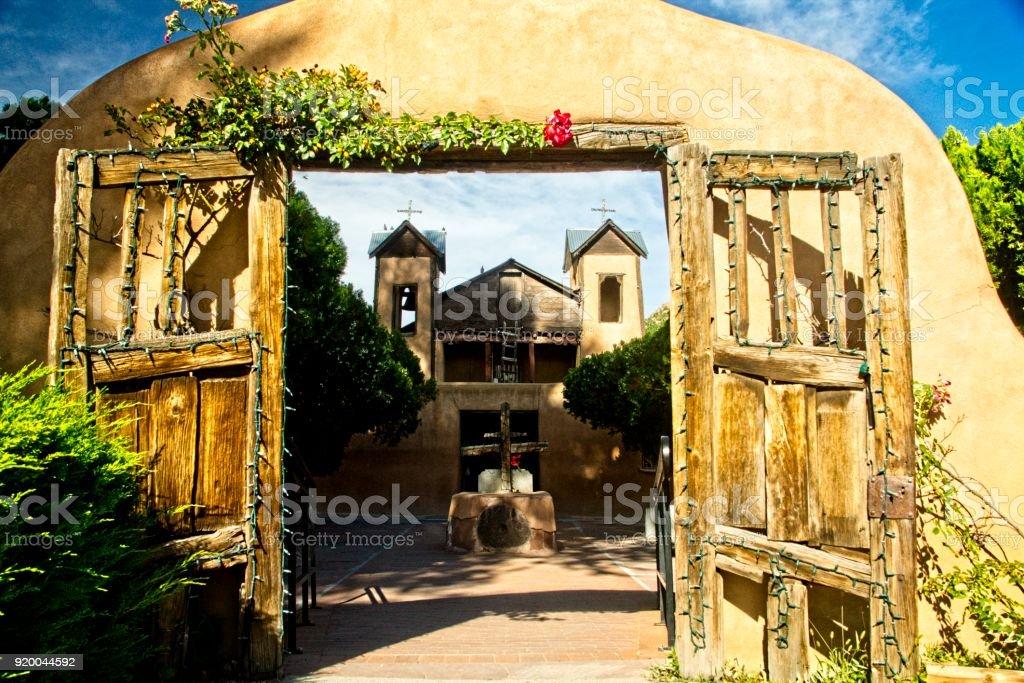 Gateway to Santaurio de Chimayo, New Mexico stock photo