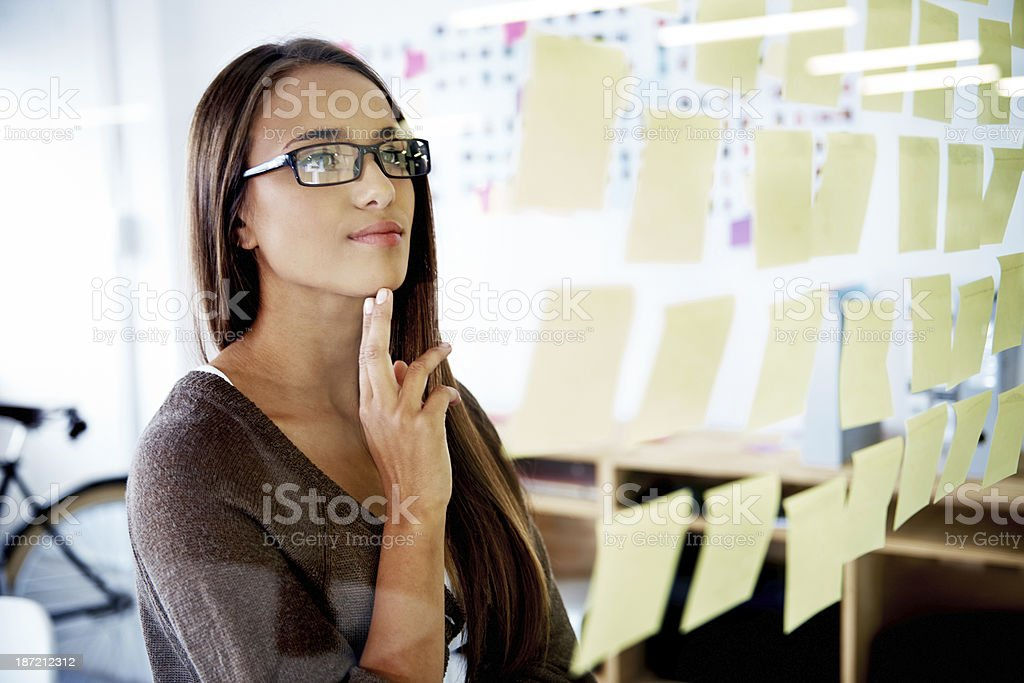 Gathering all the information she needs royalty-free stock photo
