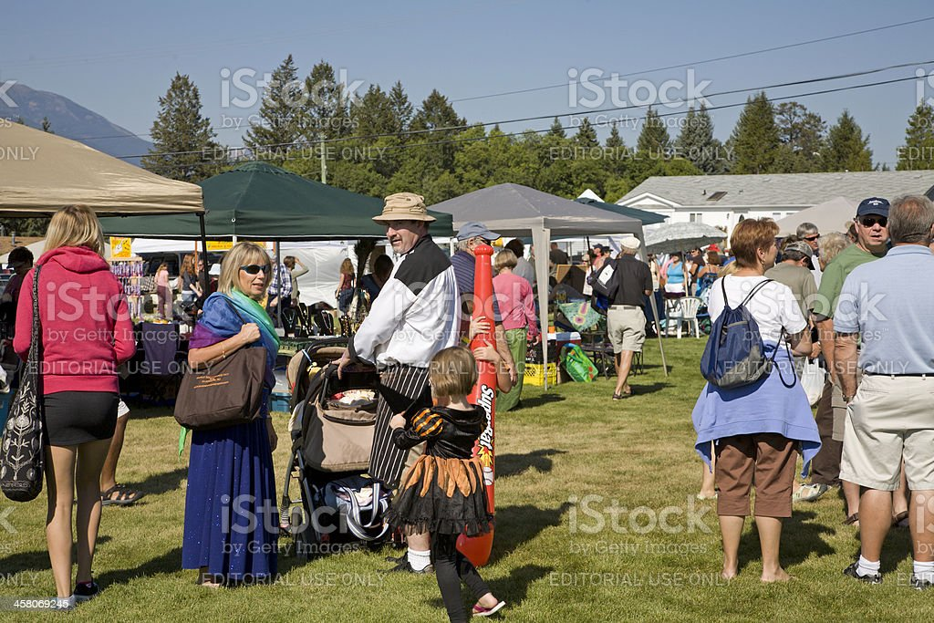 Gathering Of People At Small Town Country Fall Fair stock photo