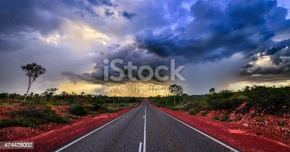 A HDR image of a gathering storm near a highway Down Under.
