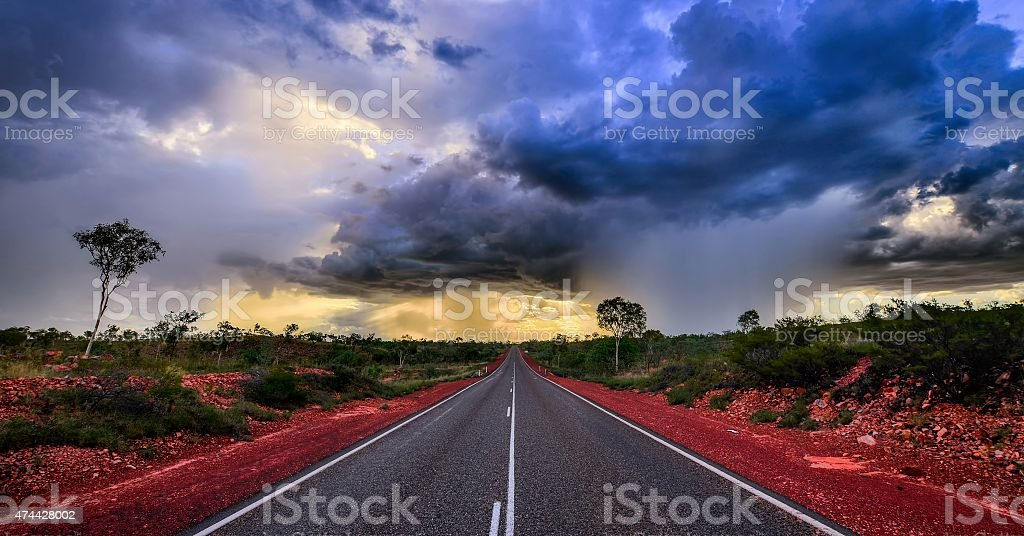 Gathering storm in Australia stock photo