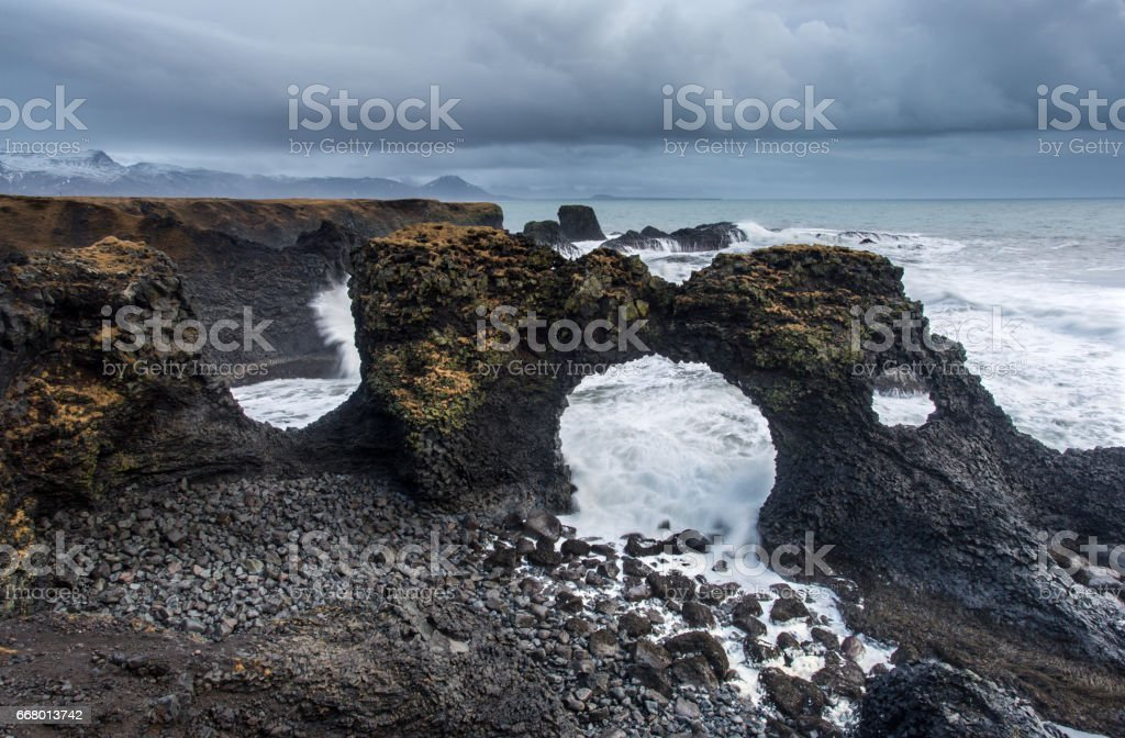 Gatklettur - Iceland. stock photo