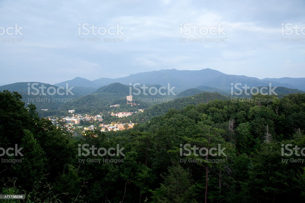 Gatlinburg Tennessee view from Smoky mountains royalty-free stock photo