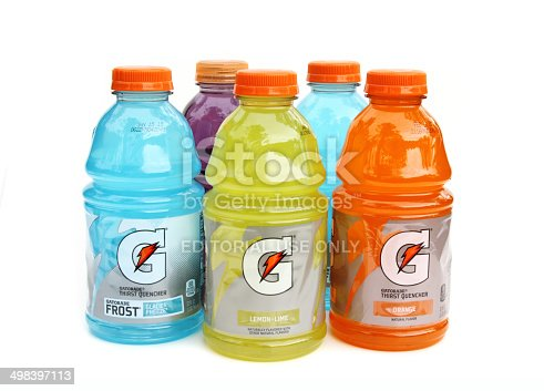 West Palm Beach, USA - June 18, 2014: Assortment of different flavored Gatorade sports drinks. Gatorade beverages are products of PepsiCo.