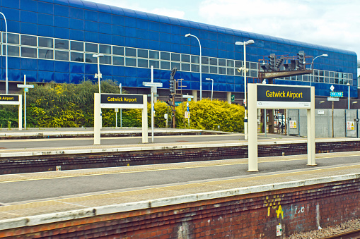The train station in South West London for the Gatwick airport. It is here that the Gatwick Express trains arrive to take passengers to their flights.