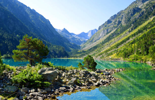 Gaube lake in the Pyrenees mountain,France. stock photo