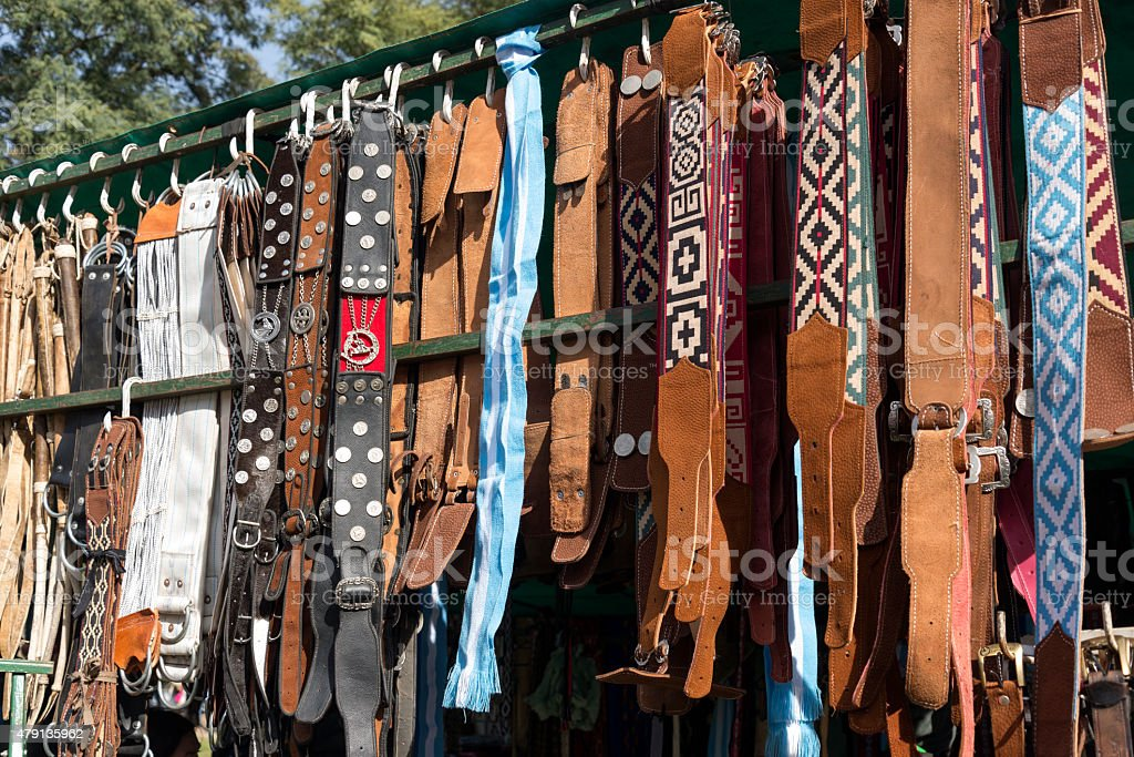 Gaucho Belts stock photo