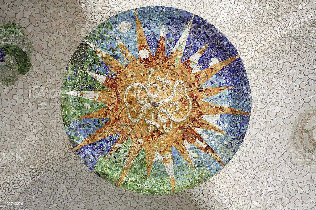 Gaudi mosaic, Rosette royalty-free stock photo