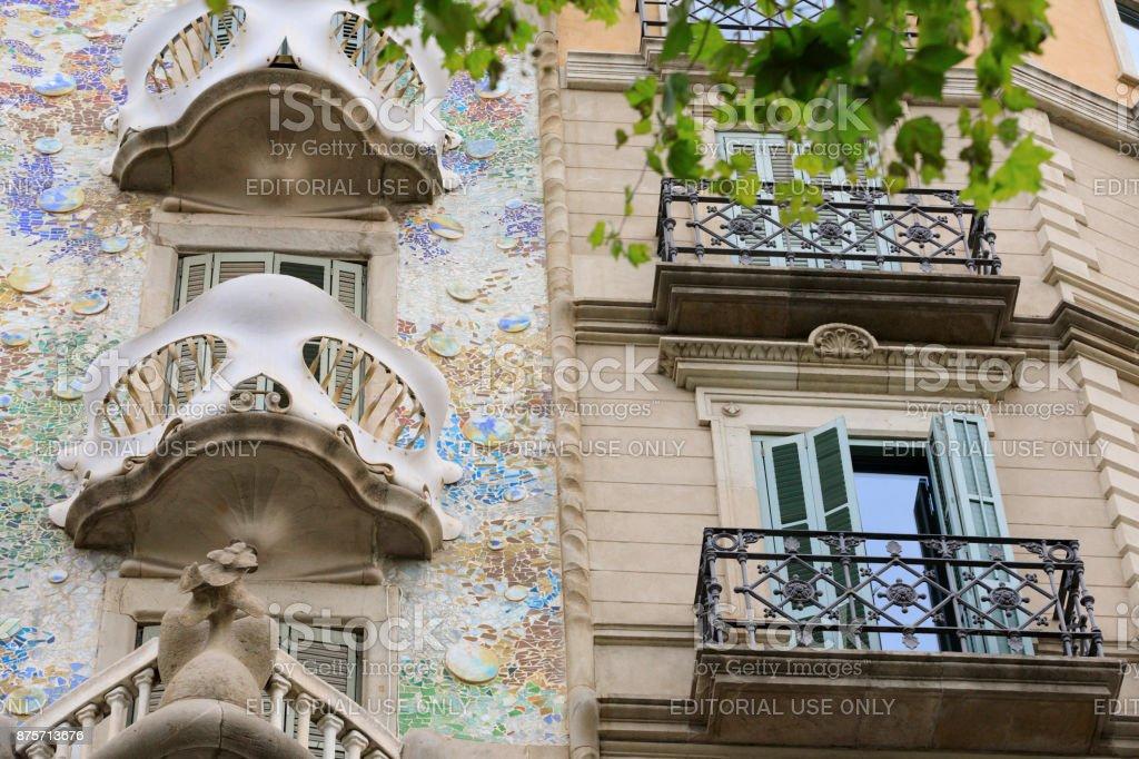 Gaudi's Casa Batllo along the Passeig de Gracia stock photo