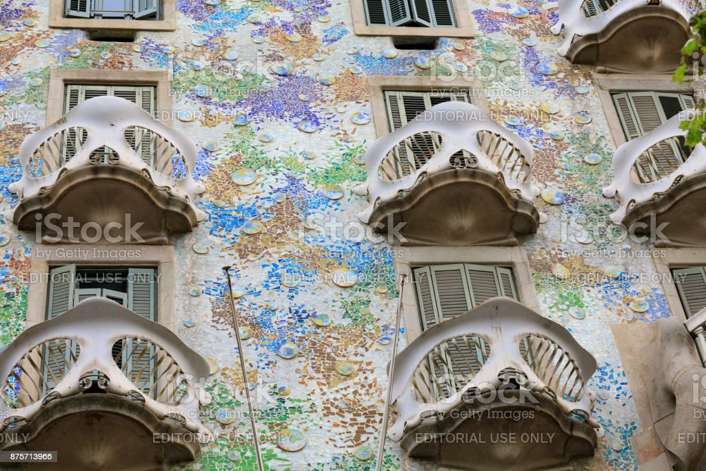 Gaudi's Casa Batllo along the Passeig de Gracia stock photo