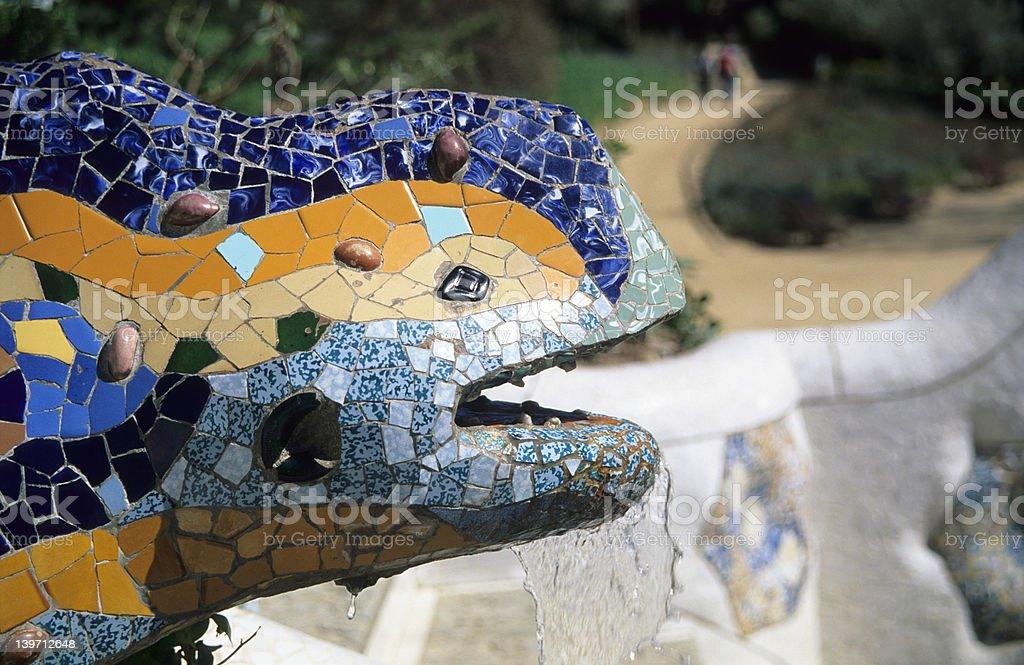 Gaudi's Lizard Fountain royalty-free stock photo