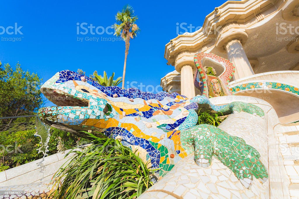 Gaudi's lizard in Parc Guell (Barcelona, Spain) stock photo