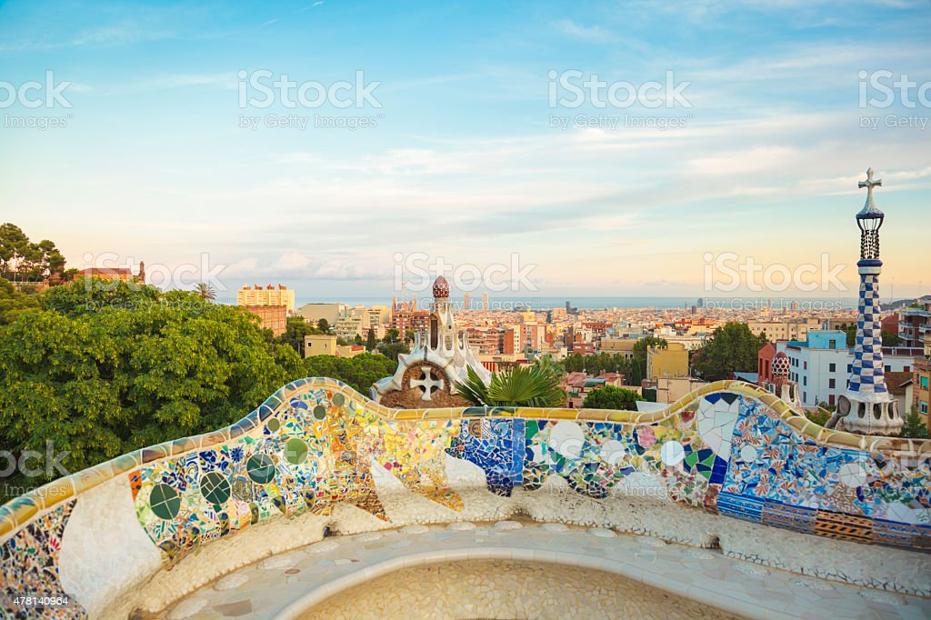 Gaudi's Parc Guell and skyline of Barcelona, Spain stock photo