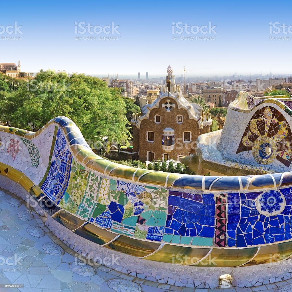 Gaudi's Parc Guell in Barcelona stock photo
