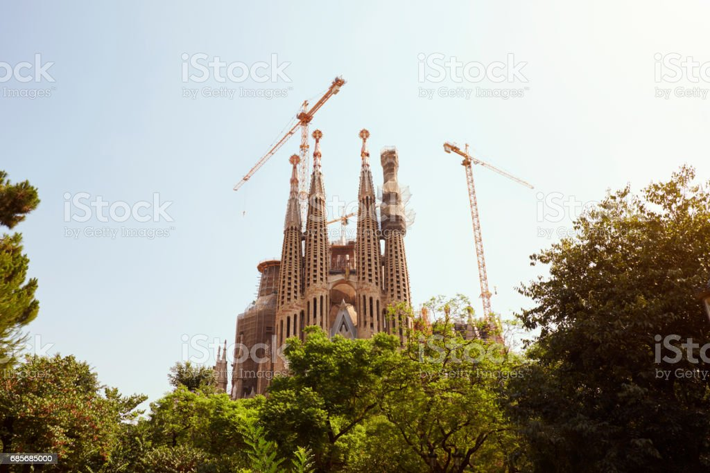 BARCELONA - JULY 29, 2016: Gaudi'u2019s La Sagrada Familia stock photo