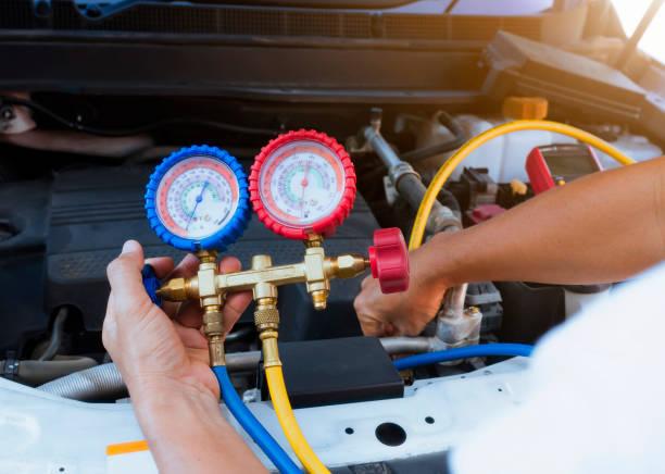 calibrador aire acondicionado - compresor motor fotografías e imágenes de stock