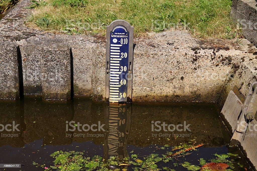 Gauge at 50 cm below sea level stock photo