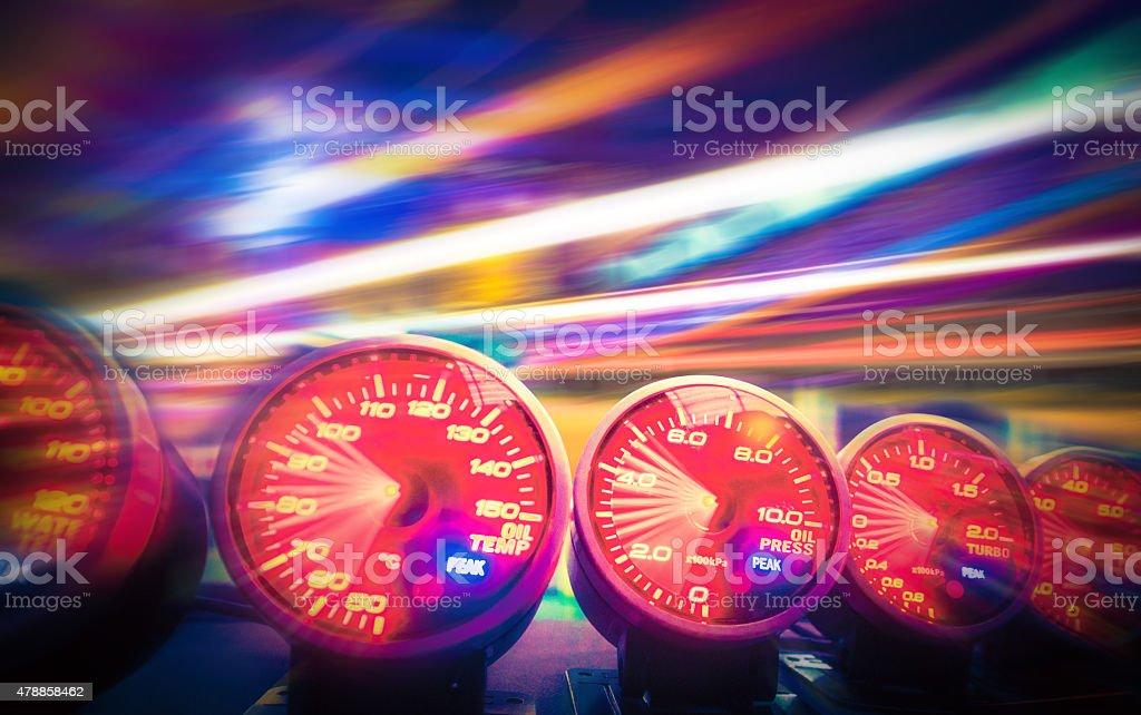 Gauge in car stock photo