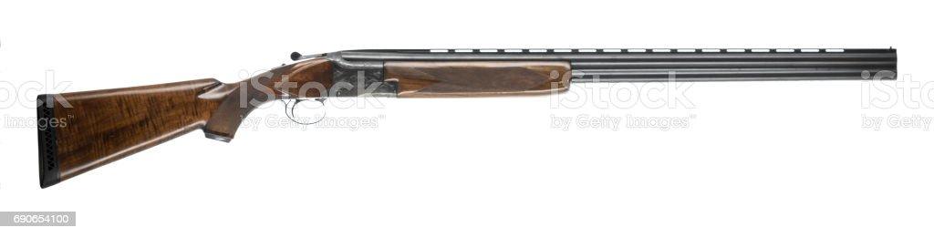 12 gauge over under shotgun isolated on white background right stock photo