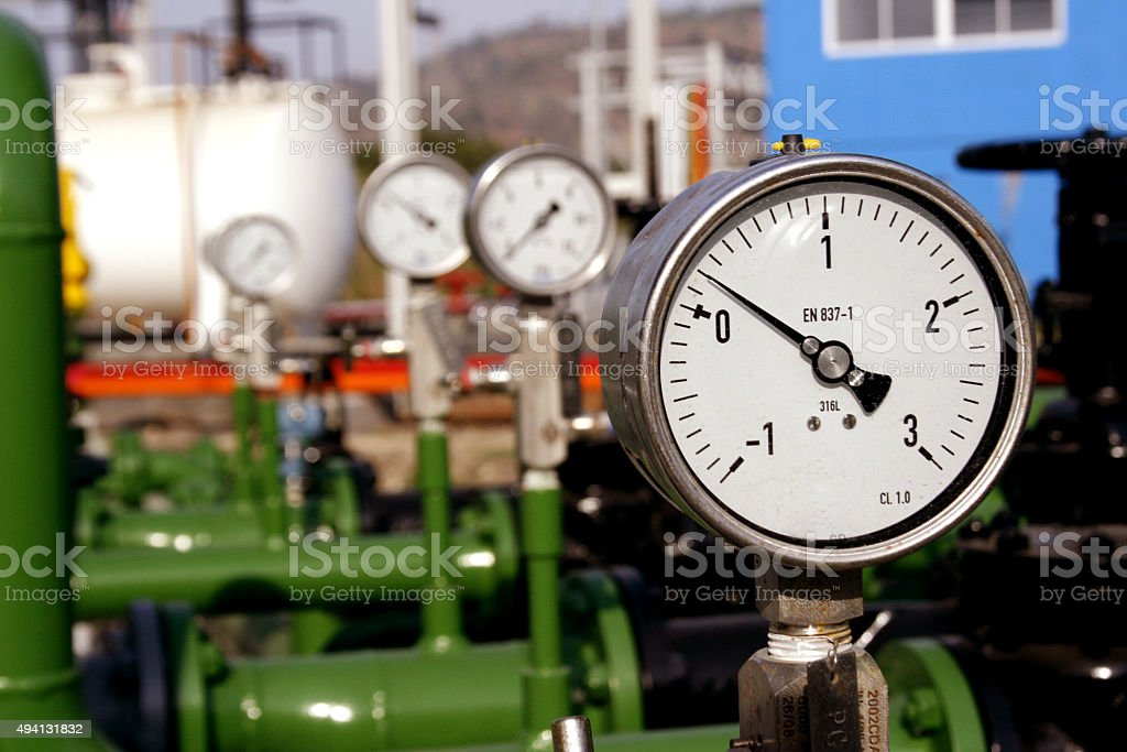Gauge Pressure meter for oil and gas company stock photo