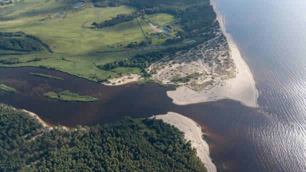 gauja river latvia drain into baltic sea aerial drone top view - estuário imagens e fotografias de stock