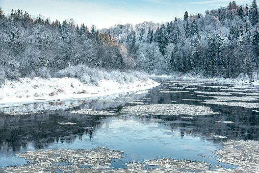 Gauja river on frosty and snowy winter day at Sigulda, Latvia
