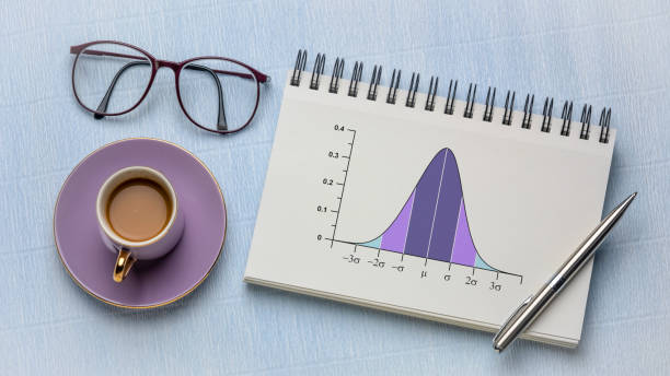 Gaussian, bell or normal distribution curve stock photo