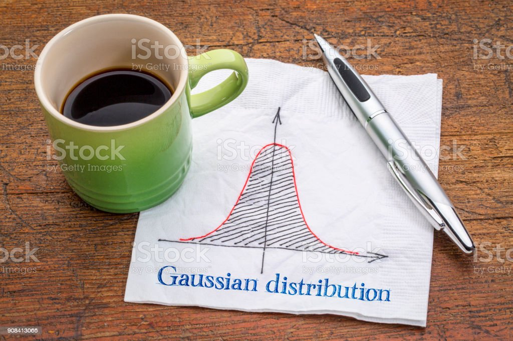 Gaussian (bell) distribution curve on napkin stock photo