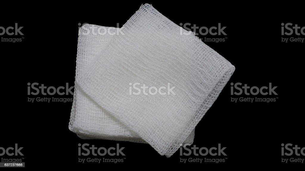 gauze pads on the black background stock photo