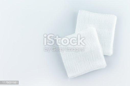 gauze pads on white background.