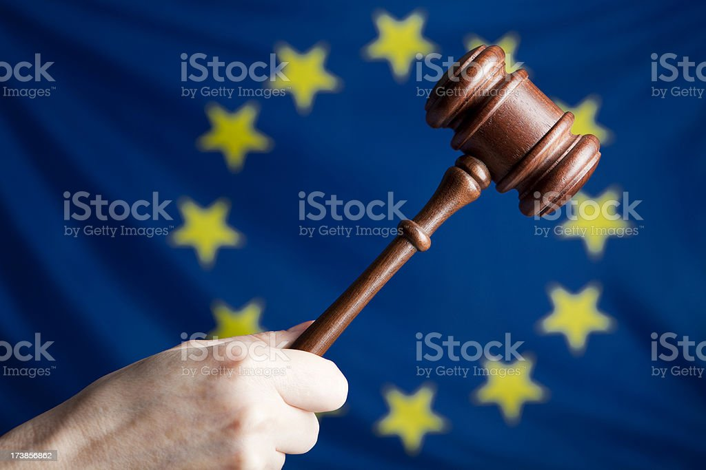 Gavel against EU flag royalty-free stock photo