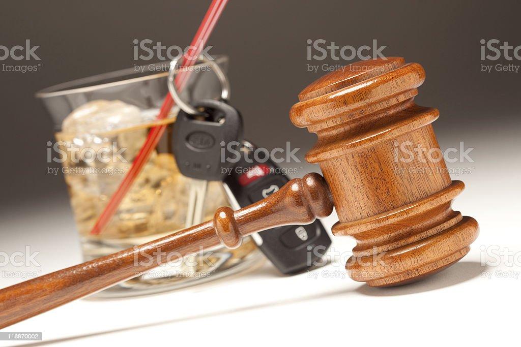Gavel, Alcoholic Drink and Car Keys royalty-free stock photo