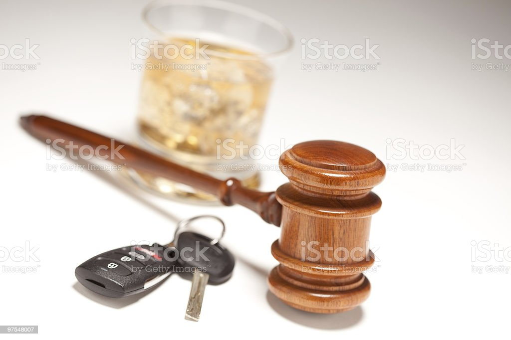 Gavel, Alcoholic Drink and Car Keys royalty-free stock photo
