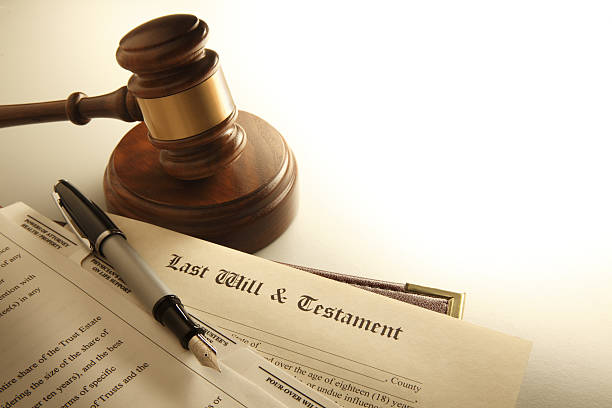 gavel and a last will and testament - will stock photos and pictures