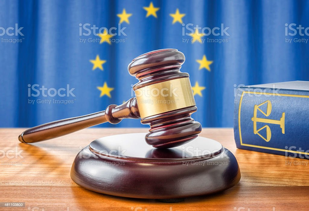 Gavel and a law book - European union stock photo