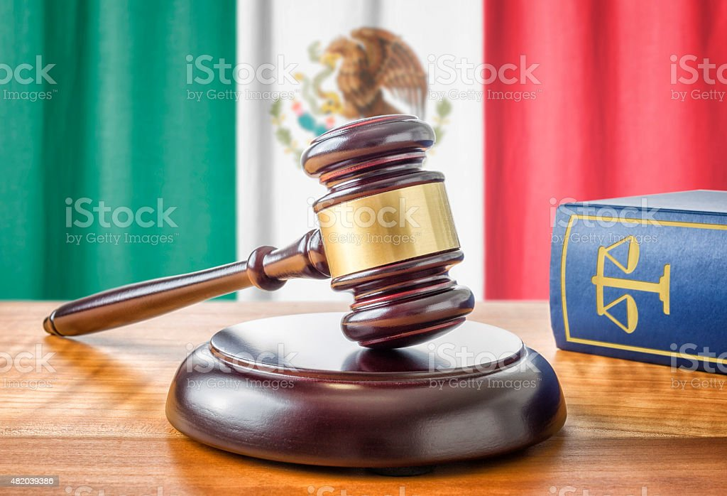 Gavel and a law book - Mexico stock photo