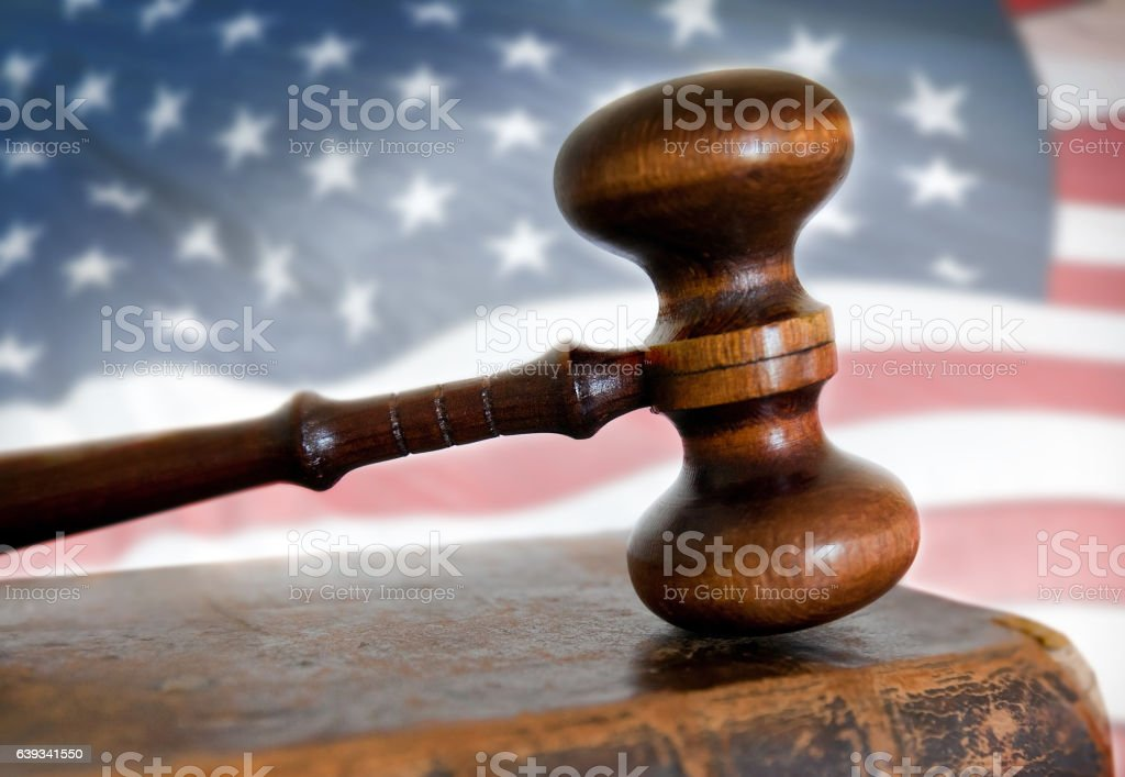 Gavel and book  and American flag stock photo