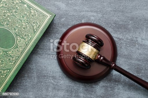 istock Gavel and book top view 686792530