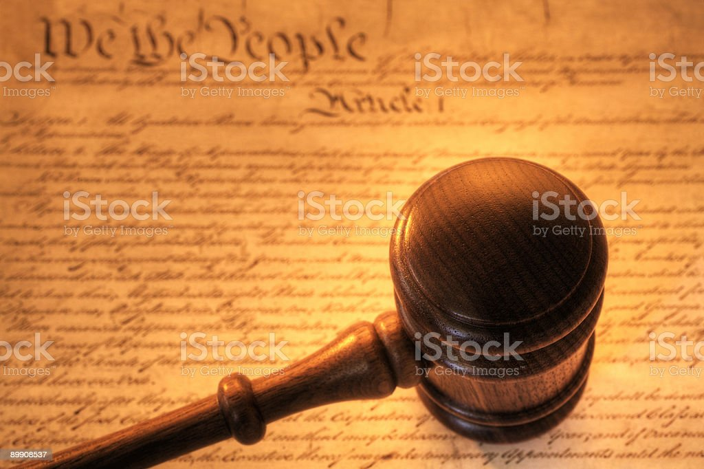 Gavel and Constitution royalty-free stock photo
