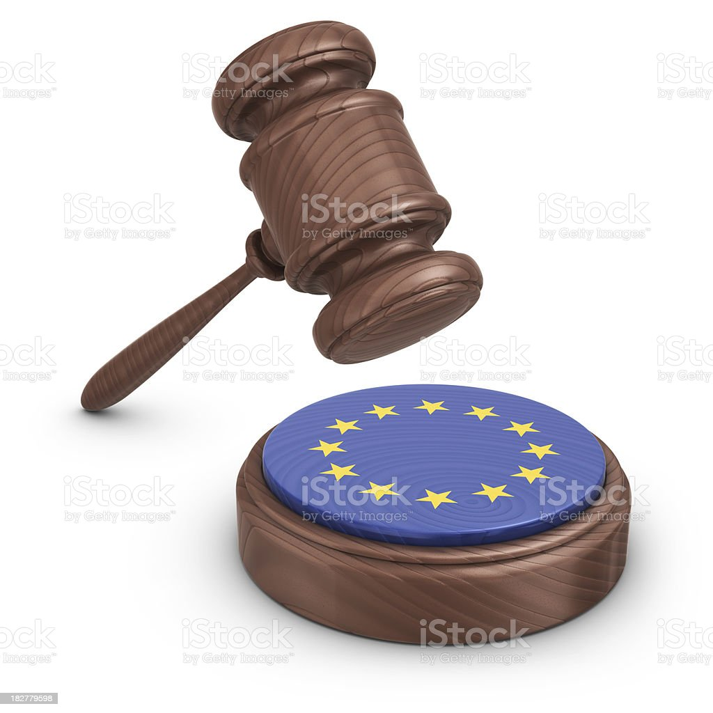 gavel and eu flag royalty-free stock photo