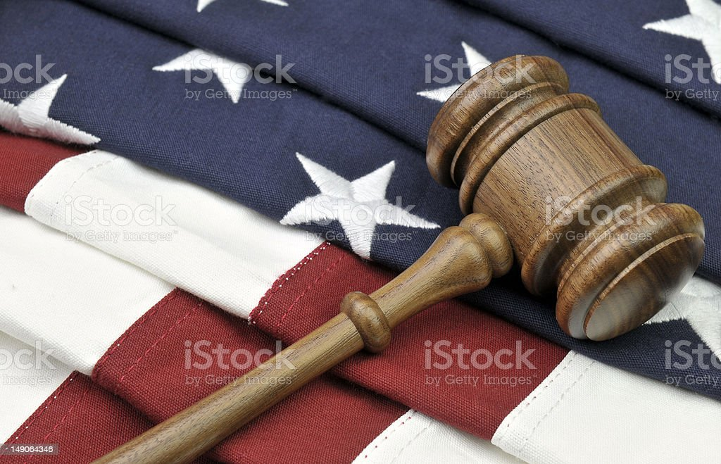 Gavel and Flag - American Justice royalty-free stock photo