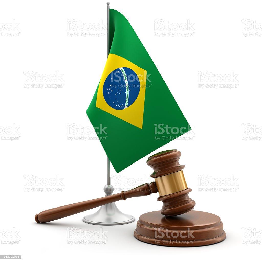 Gavel and flag of Brazil stock photo