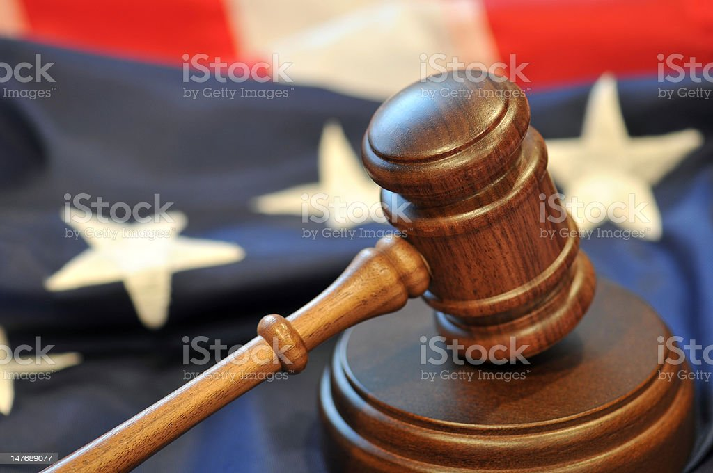 Gavel and flag stock photo