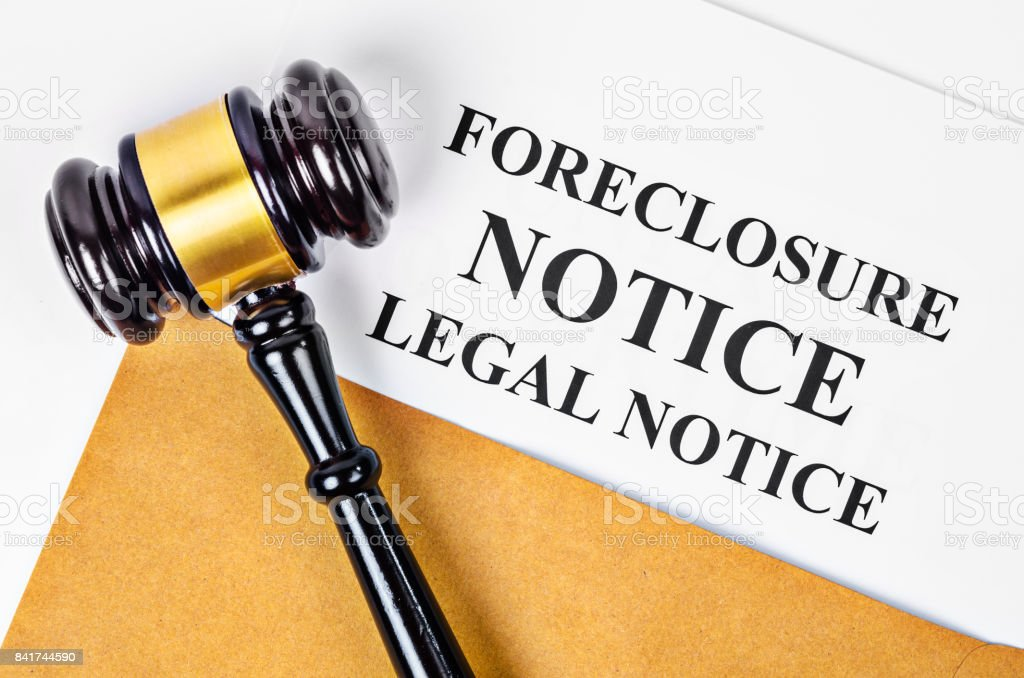 Gavel and Foreclosure Notice document stock photo